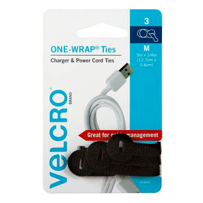 Image for VELCRO BRAND ONE-WRAP CABLE TIES 127MM BLACK PACK 3 from Office National Hobart