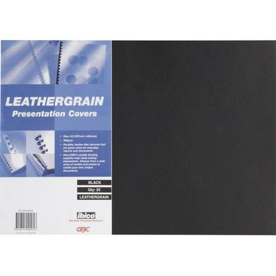 Image for GBC IBICO BINDING COVER LEATHERGRAIN 300GSM A3 BLACK PACK 25 from OFFICE NATIONAL CANNING VALE, JOONDALUP & OFFICE TOOLS OPD