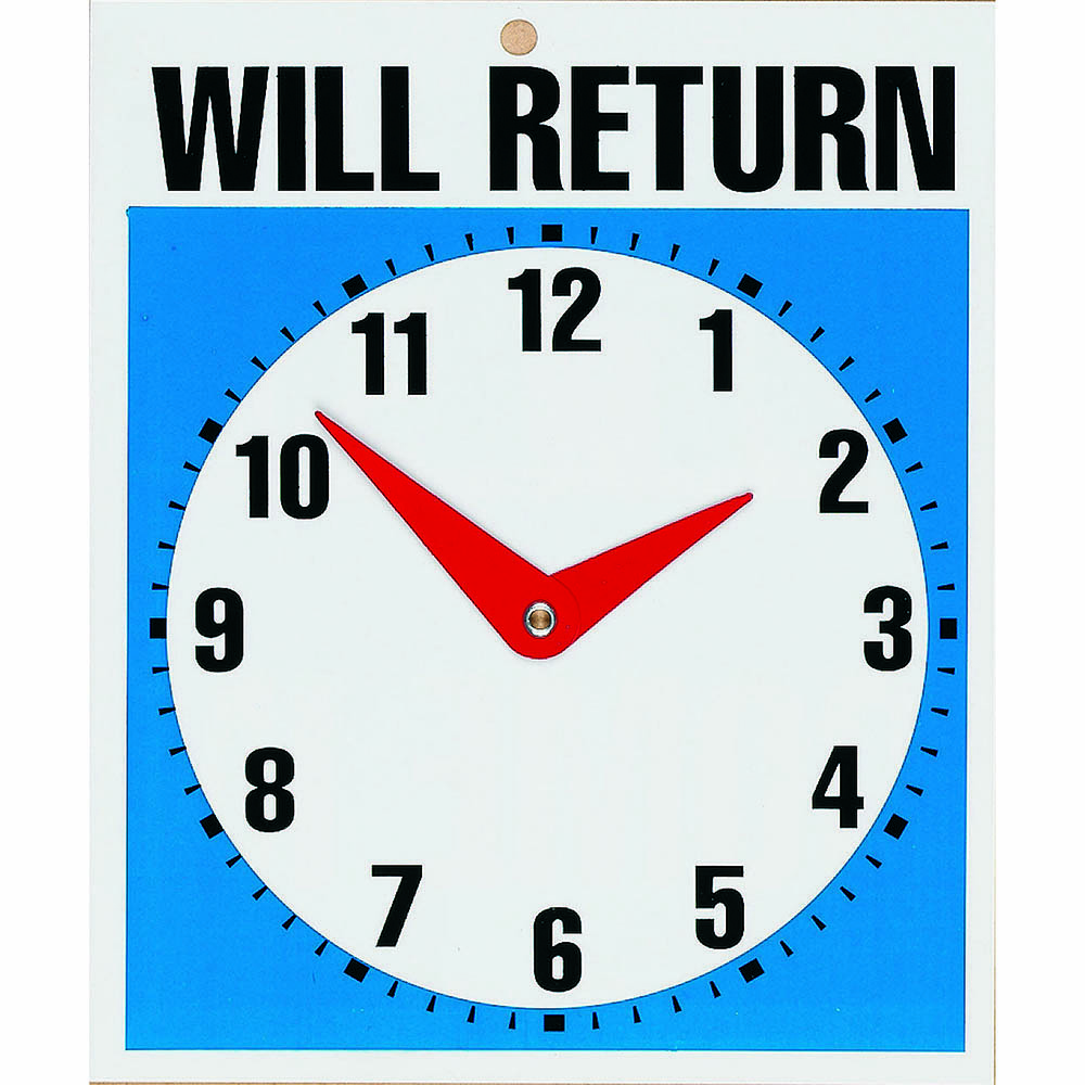 Image for HEADLINE SIGN WILL RETURN CLOCK 190 X 230MM from Ezi Office National Tweed