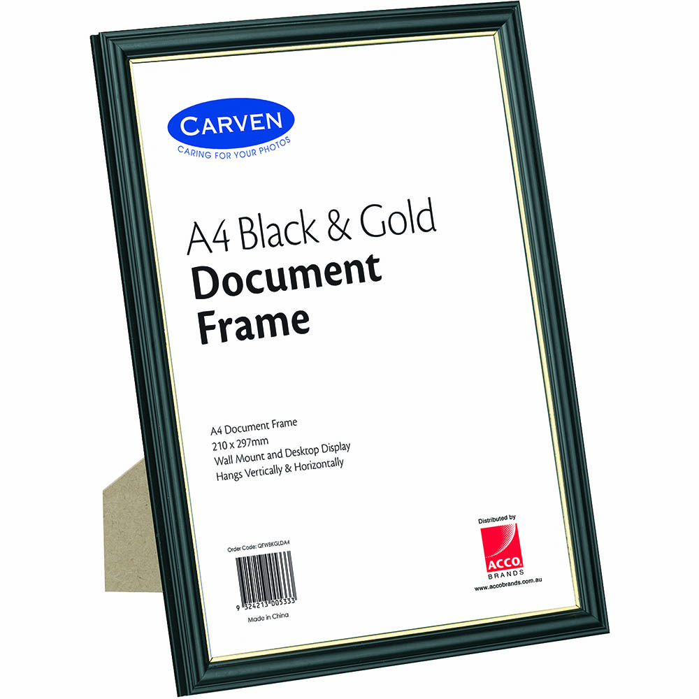 Image for CARVEN DOCUMENT FRAME A4 BLACK/GOLD from Office National Capalaba