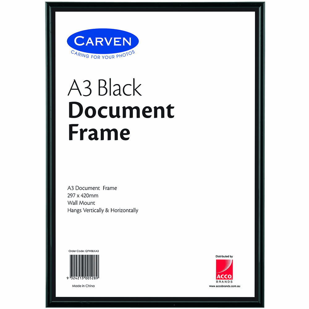 Image for CARVEN DOCUMENT FRAME A3 BLACK from Office National Capalaba
