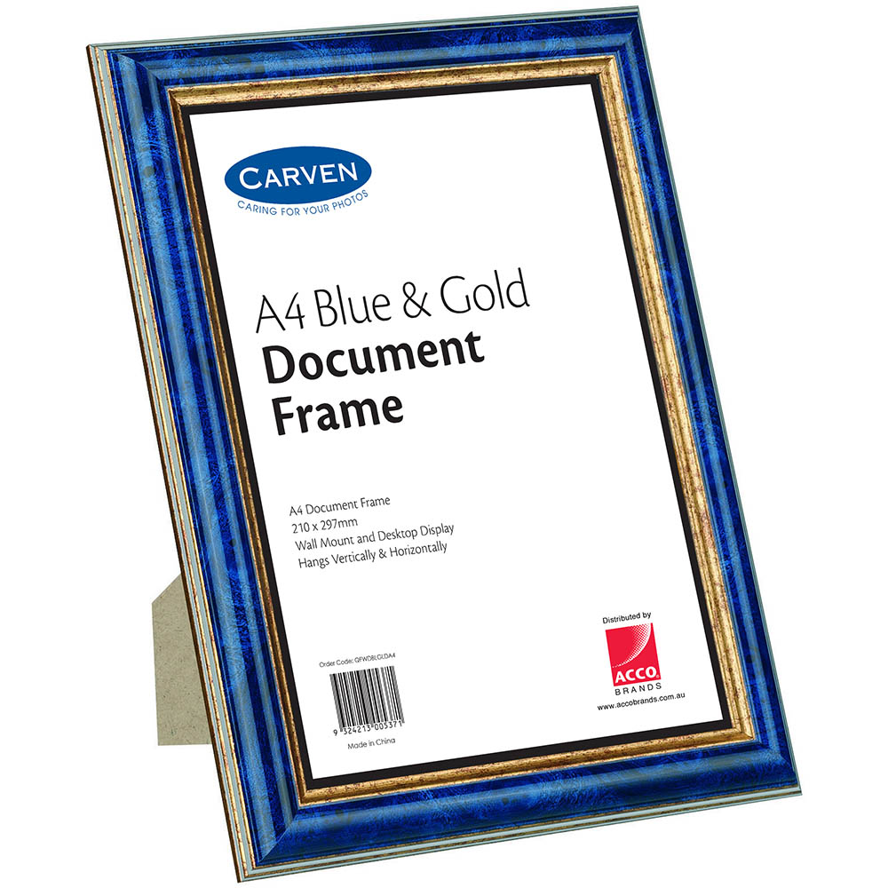 Image for CARVEN DOCUMENT FRAME A4 BLUE/GOLD from Office National Capalaba