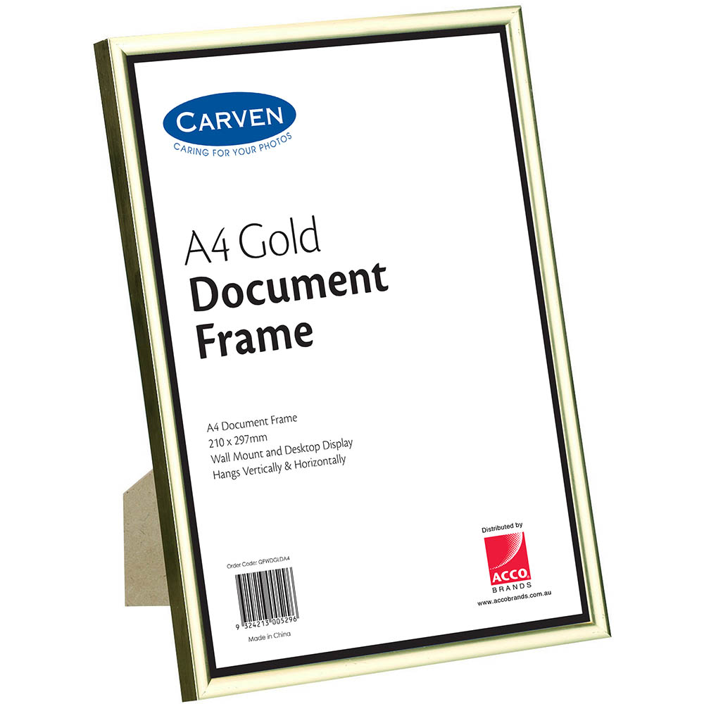 Image for CARVEN DOCUMENT FRAME A4 GOLD from Office National Capalaba