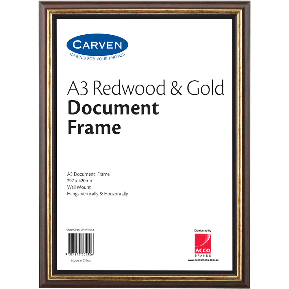 Image for CARVEN DOCUMENT FRAME A3 REDWOOD/GOLD from Office National Capalaba