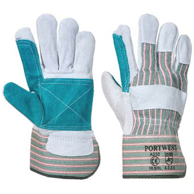 Image for PORTWEST A230 DOUBLE PALM RIGGER GLOVE CHROME/GREEN XL from Ezi Office Supplies Gold Coast