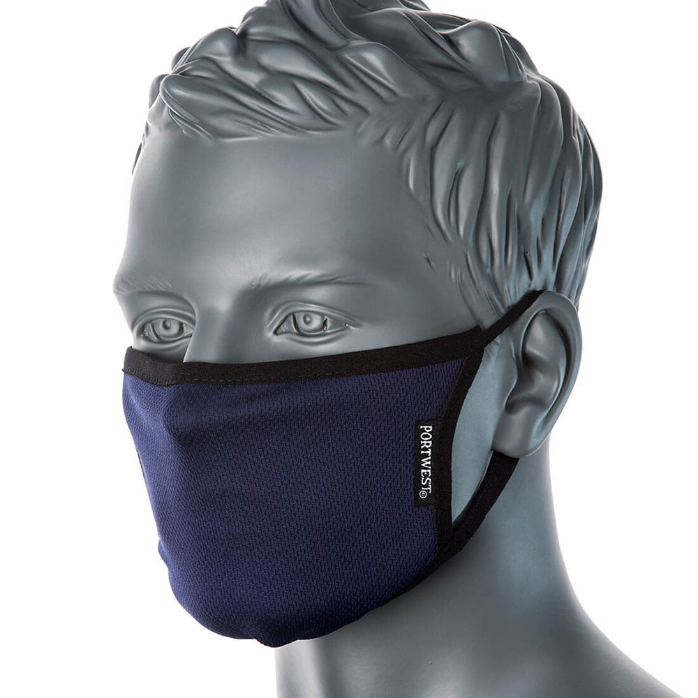 Image for PORTWEST FABRIC FACE MASK ANTI-MICROBIAL 3 PLY NAVY from SBA Office National