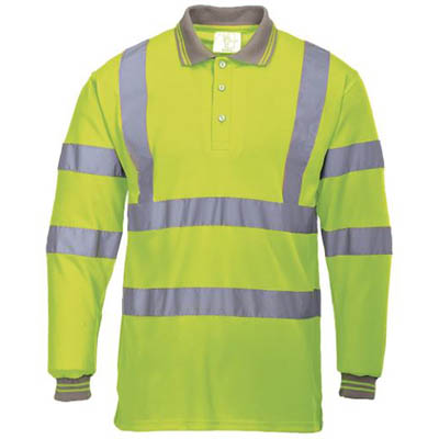 Image for PORTWEST S277 HI-VIS POLO SHIRT LONG SLEEVED YELLOW XXL from The Paper Bahn Office National