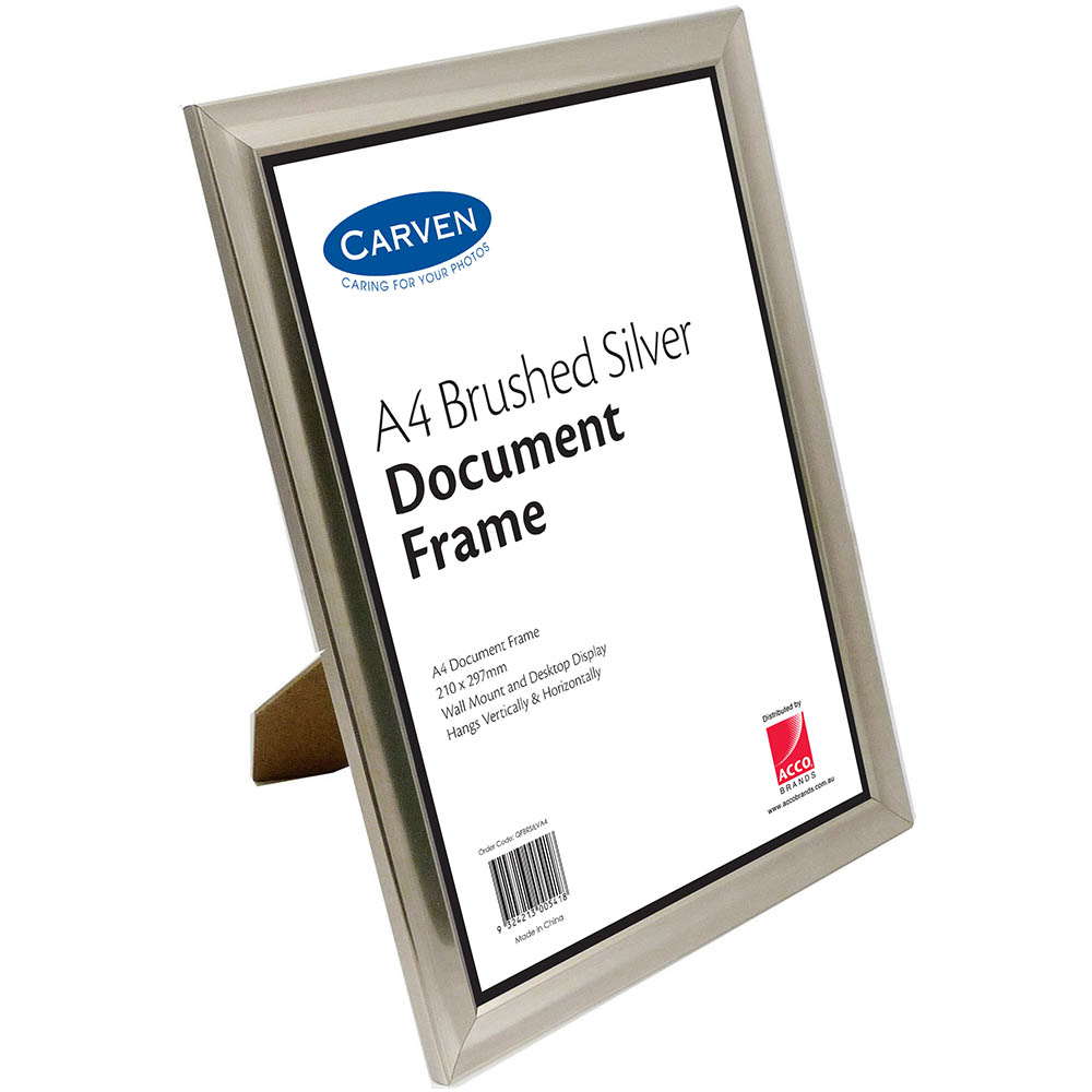 Image for CARVEN DOCUMENT FRAME A4 BRUSHED SILVER from Office National Capalaba
