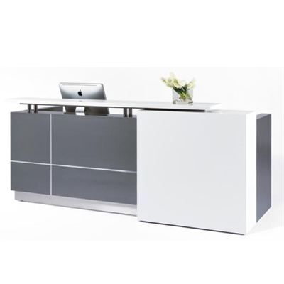 Image for CALVIN RECEPTION COUNTER 2500 X 950 X 1150MM METALLIC GREY from Office National Hobart