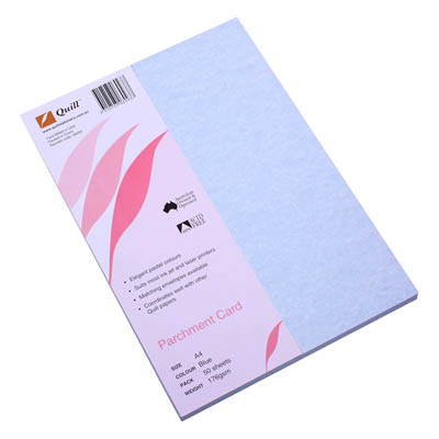 Image for QUILL PARCHMENT CARD 176GSM A4 BLUE PACK 50 from City Stationery Office National