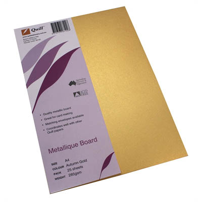 Image for QUILL METALLIQUE BOARD 285GSM A4 AUTUMN GOLD PACK 25 from City Stationery Office National