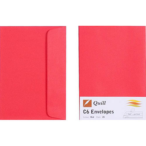 Image for QUILL C6 COLOURED ENVELOPES PLAINFACE STRIP SEAL 80GSM 114 X 162MM RED PACK 25 from Axsel Office National