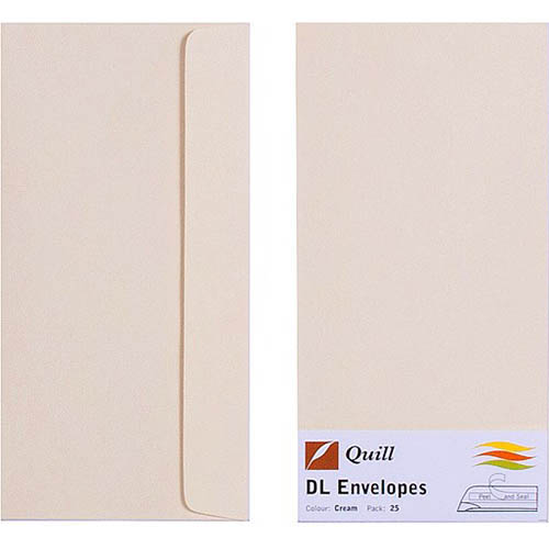 Image for QUILL DL COLOURED ENVELOPES PLAINFACE STRIP SEAL 80GSM 110 X 220MM CREAM PACK 25 from OFFICE NATIONAL CANNING VALE, JOONDALUP & OFFICE TOOLS OPD