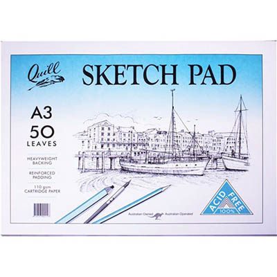 Image for QUILL SKETCH PAD 110GSM A3 297 X 420MM 100 PAGES WHITE from Wetherill Park / Smithfield Office National