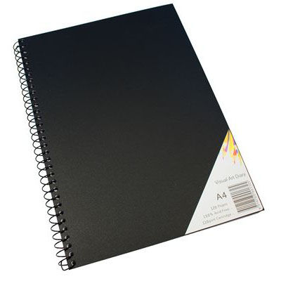 Image for QUILL VISUAL ART DIARY 110GSM 120 PAGE A4 PP BLACK from Office National Kalgoorlie