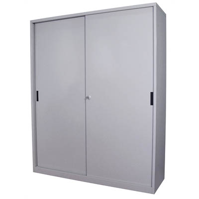 Image for STEELCO SLIDING DOOR CABINET 3 SHELVES 1830 X 1500 X 465MM SILVER GREY from Office National Hobart