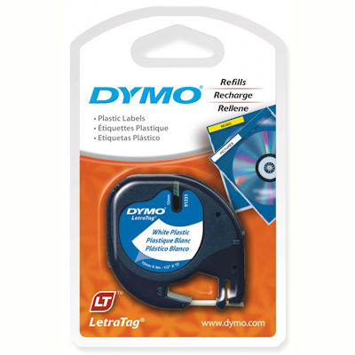 Image for DYMO 91331 LETRATAG PLASTIC LABELLING TAPE 12MM BLACK ON PEARL WHITE from Axsel Office National