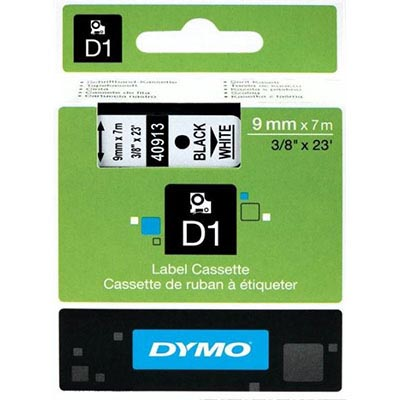 Image for DYMO 40913 D1 LABELLING TAPE 9MM X 7M BLACK ON WHITE from Our Town & Country Office National