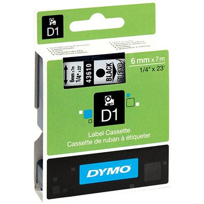Image for DYMO 43610 D1 LABELLING TAPE 6MM X 7M BLACK ON CLEAR from Our Town & Country Office National