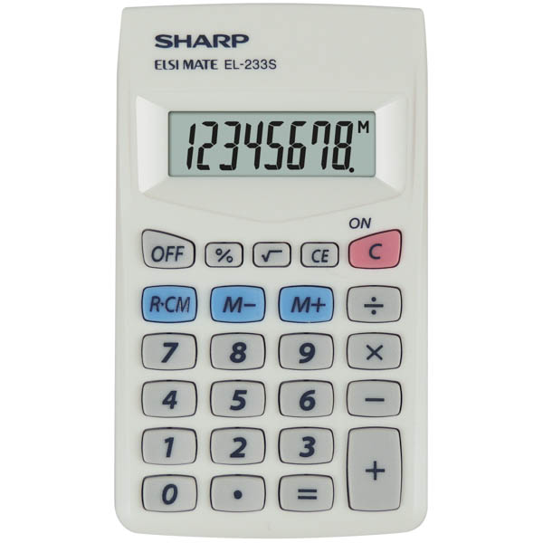 Image for SHARP EL233S BASIC FUNCTION 8 DIGIT CALCULATOR WHITE from Our Town & Country Office National