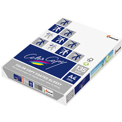 Image for MONDI COLOR COPY A4 COPY PAPER GLOSSY COATED 135GSM WHITE PACK 250 SHEETS from Emerald Office Supplies