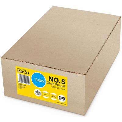 Image for TUDOR ENVELOPES NO.5 SEED POCKET PLAINFACE MOIST SEAL 80GSM 120 X 70MM GOLD BOX 500 from Office National Perth CBD