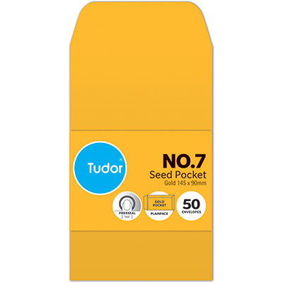 Image for TUDOR ENVELOPES NO.7 SEED POCKET PLAINFACE PRESS SEAL 80GSM 145 X 90MM GOLD PACK 50 from Mackay Business Machines (MBM)