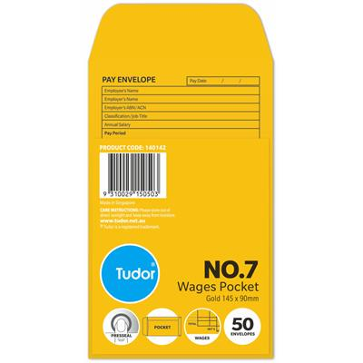 Image for TUDOR ENVELOPES NO.7 WAGES POCKET PRE-PRINTED PRESS SEAL 80GSM 90 X 145 GOLD PACK 500 from Office National Perth CBD