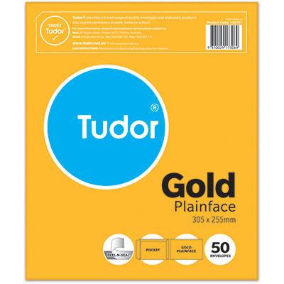 Image for TUDOR ENVELOPES POCKET PLAINFACE STRIP SEAL 80GSM 305 X 255MM GOLD PACK 50 from Office National Perth CBD