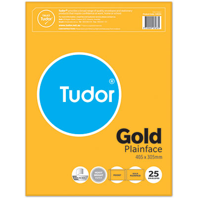 Image for TUDOR ENVELOPES POCKET PLAINFACE STRIP SEAL 100GSM 405 X 305MM GOLD PACK 25 from Mackay Business Machines (MBM)