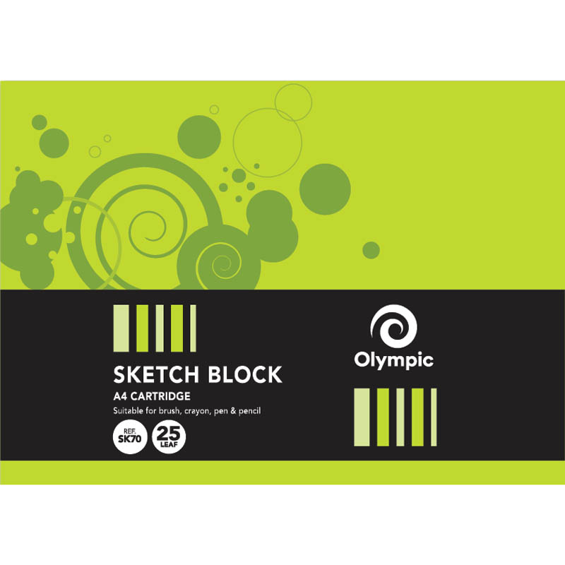 Image for OLYMPIC SKETCH BOOK A4 25 LEAF 110GSM 297 X 210MM BLACK PACK 10 from Wetherill Park / Smithfield Office National