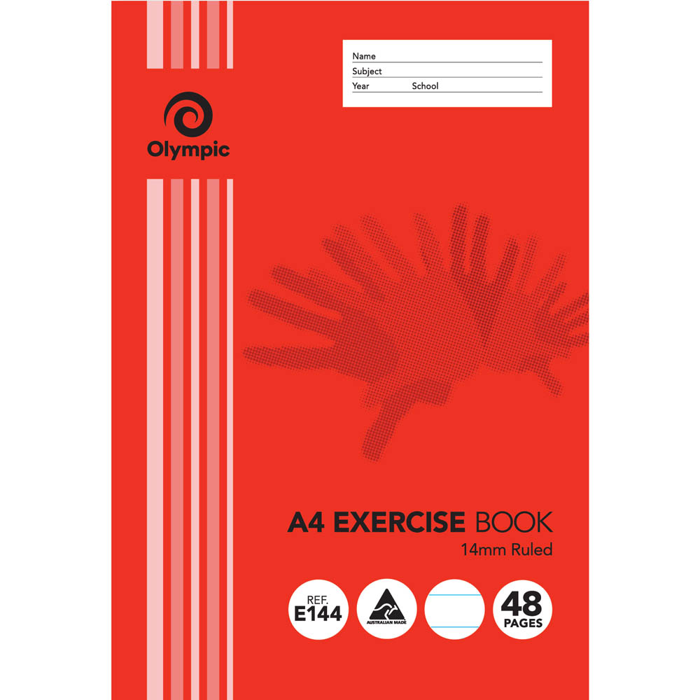 Image for OLYMPIC E144 EXERCISE BOOK 14MM RULED 55GSM 48 PAGE A4 from Office National Perth CBD