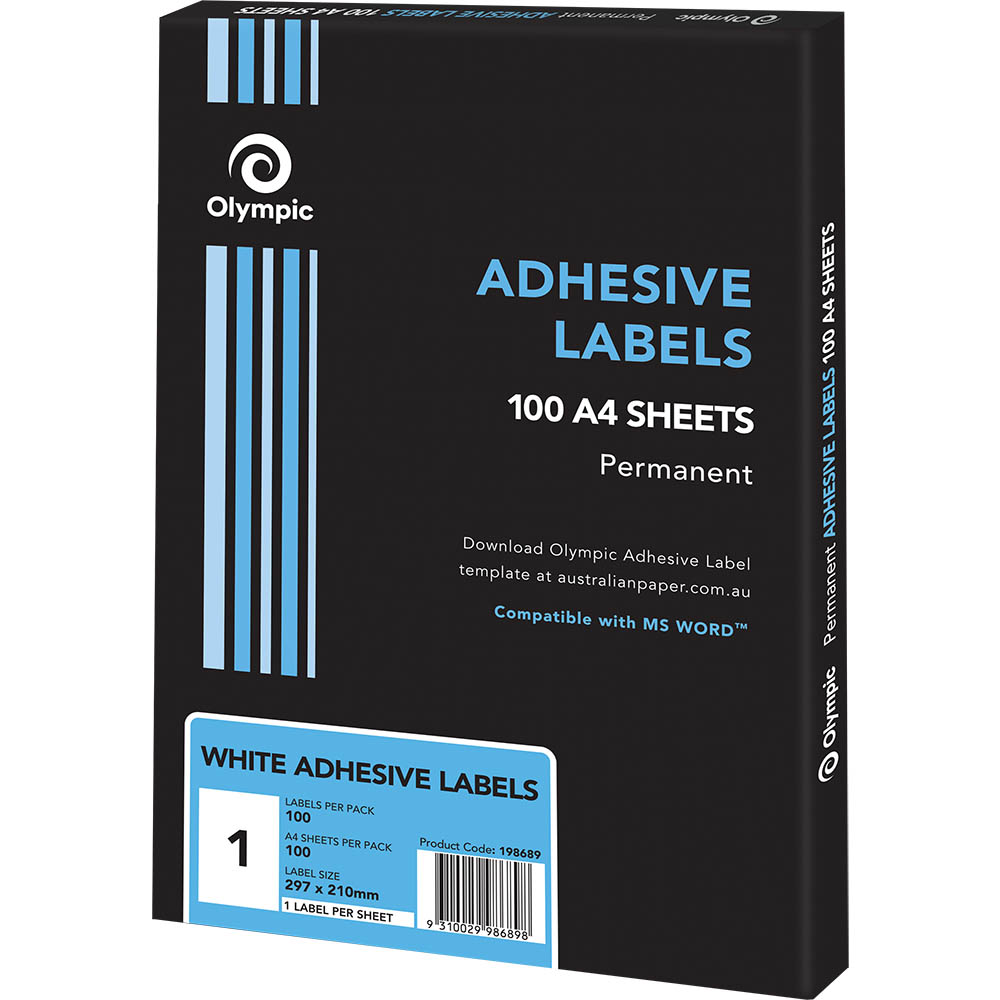 Image for OLYMPIC ADHESIVE LABELS 1UP 210 X 297MM WHITE BOX 100 from Office National Perth CBD