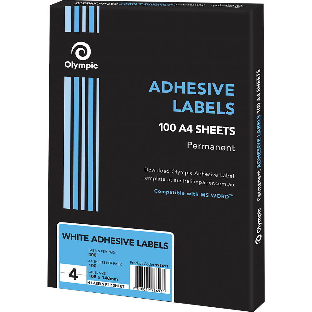 Image for OLYMPIC ADHESIVE LABELS 4UP 105 X 148MM WHITE BOX 100 from Office National Perth CBD