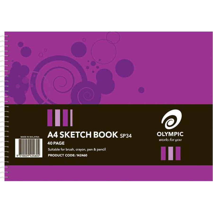 Image for OLYMPIC SPIRAL SKETCHBOOK 110GSM 40 PAGE BLANK WHITE A4 PACK 10 from Wetherill Park / Smithfield Office National