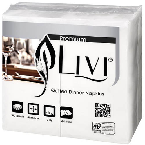 Image for LIVI PREMIUM QUILTED GT DINNER NAPKIN 2 PLY 100 SHEET CARTON 10 from Office National Hobart