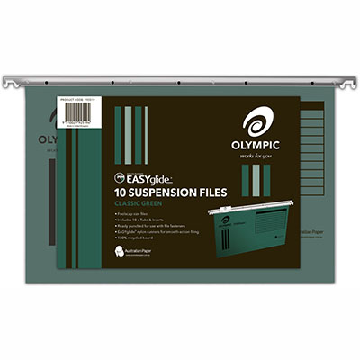 Image for OLYMPIC 100% RECYCLED EASY GLIDE SUSPENSION FILES FOOLSCAP GREEN PACK 10 from Axsel Office National