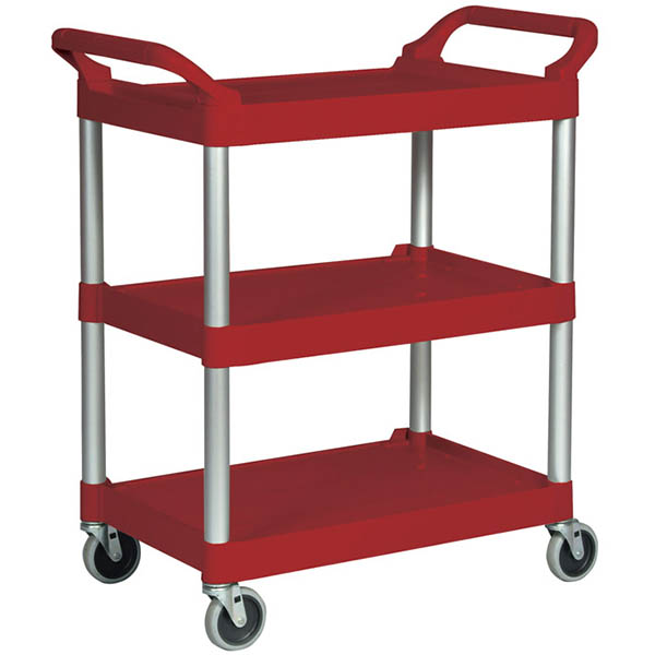 Image for TRAFALGAR UTILTY CART TROLLEY 3 SHELF RED from Office National Capalaba
