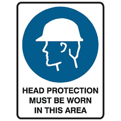 Image for TRAFALGAR MANDATORY SIGN HEAD PROTECTION 450 X 600MM from Office National Perth CBD