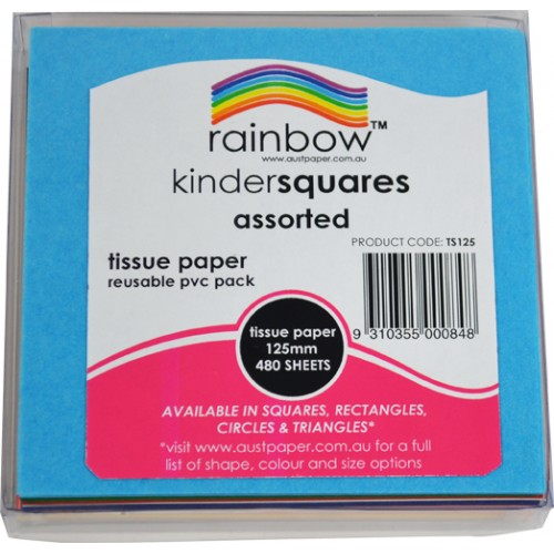 Image for RAINBOW KINDER SHAPES TISSUE CIRCLES DOUBLE SIDED 17GSM 125MM ASSORTED PACK 480 from Wetherill Park / Smithfield Office National