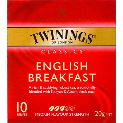 Image for TWININGS TEA BAGS ENGLISH BREAKFAST PACK 10 from Office National Capalaba
