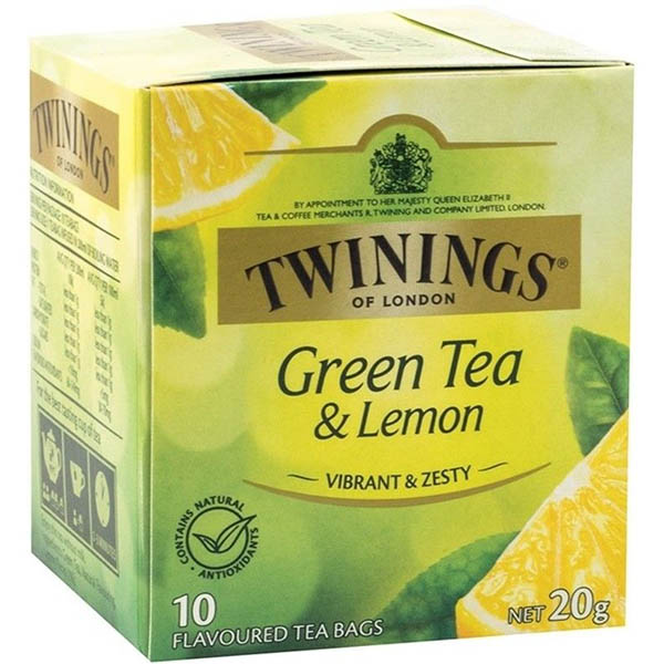 Image for TWININGS TEA BAGS GREEN TEA WITH LEMON PACK 10 from Office National Capalaba