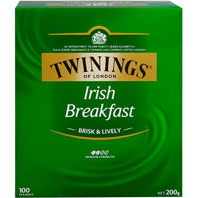 Image for TWININGS TEA BAGS IRISH BREAKFAST PACK 100 from Our Town & Country Office National