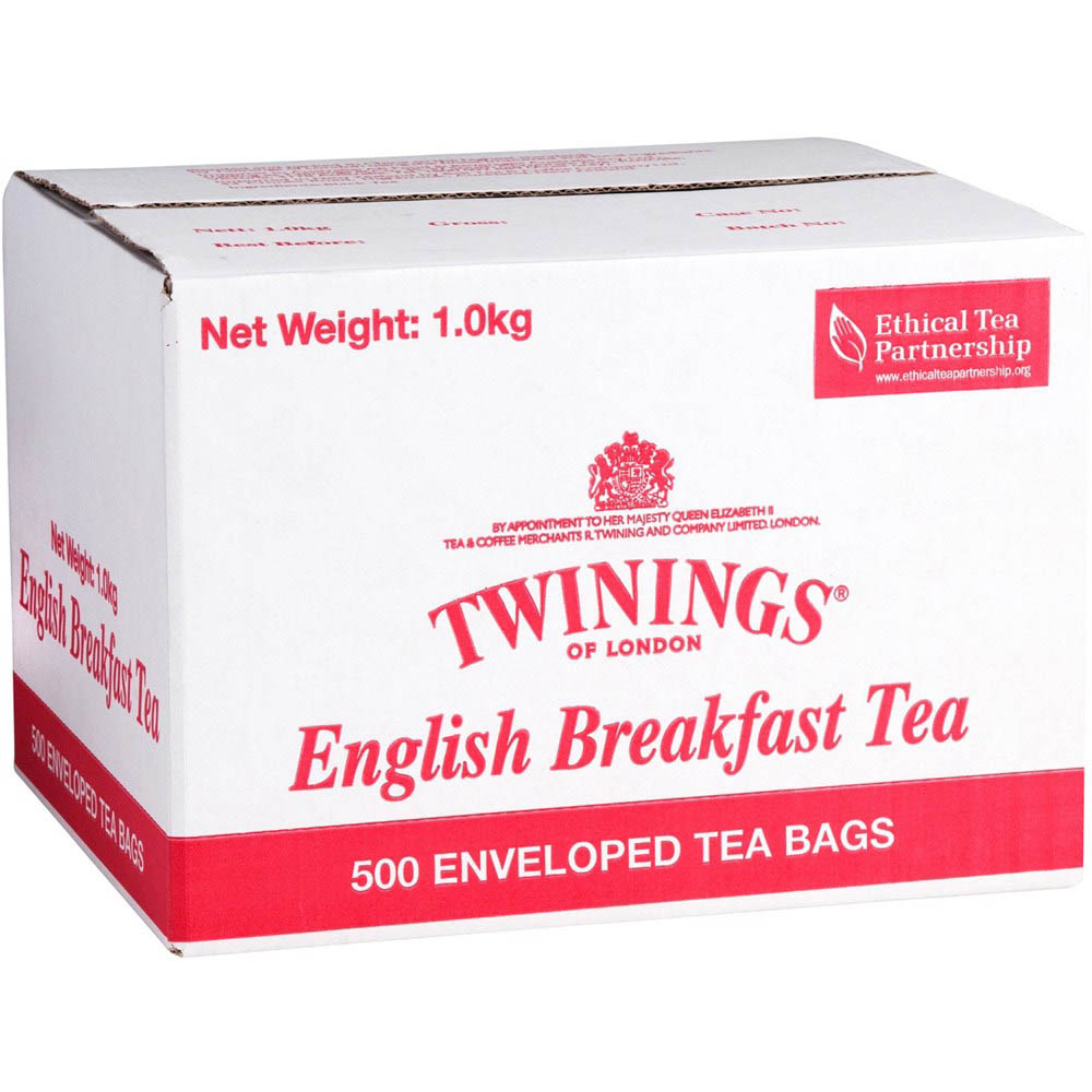 Image for TWININGS ENVELOPE TEA BAGS ENGLISH BREAKFAST CARTON 500 from Office National Capalaba