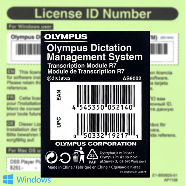 Image for OLYMPUS AS9002 ODMS R7 TRANSCRIPTION MODULE LICENCE KEY FOR WINDOWS 10 from Office National Hobart