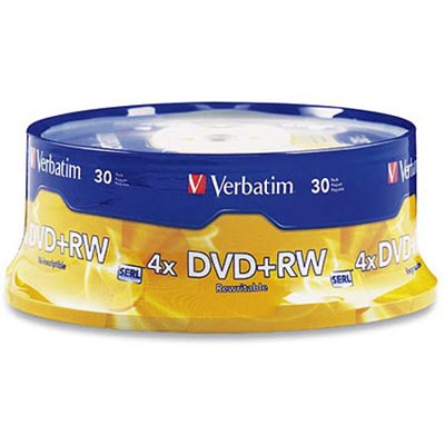 Image for VERBATIM DVD+RW 4.7GB 4X REWRITABLE SPINDLE PACK 30 from Wetherill Park / Smithfield Office National