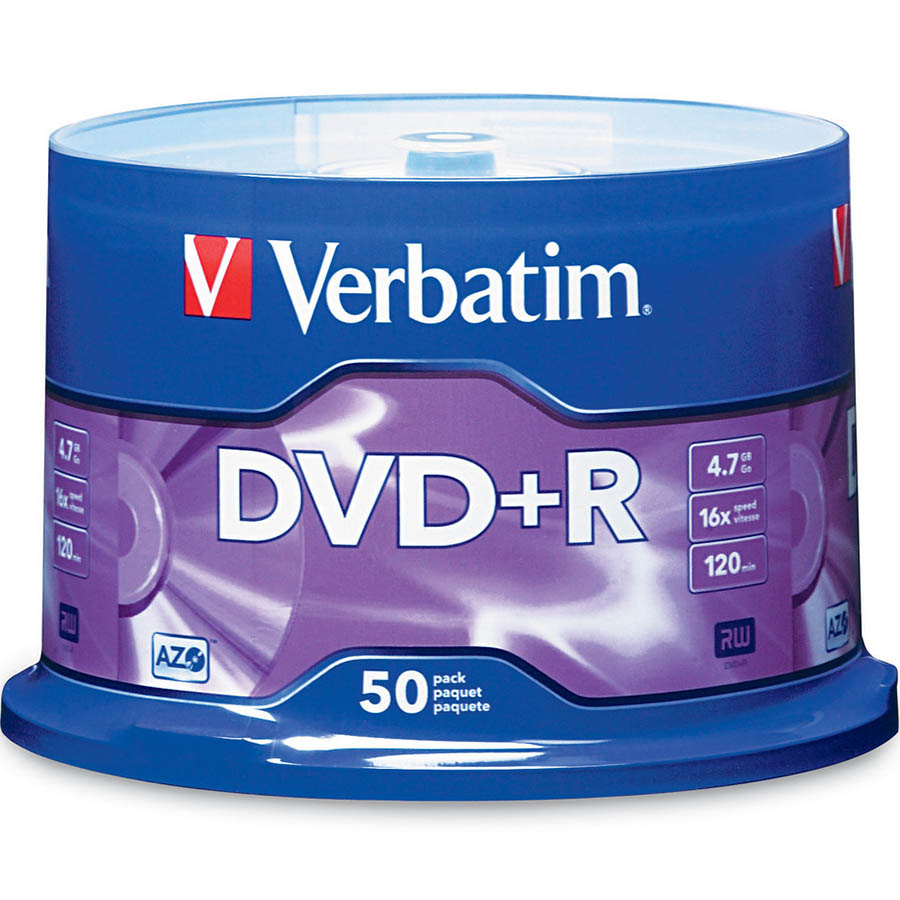 Image for VERBATIM DVD+R 4.7GB 16X SPINDLE PACK 50 from Wetherill Park / Smithfield Office National