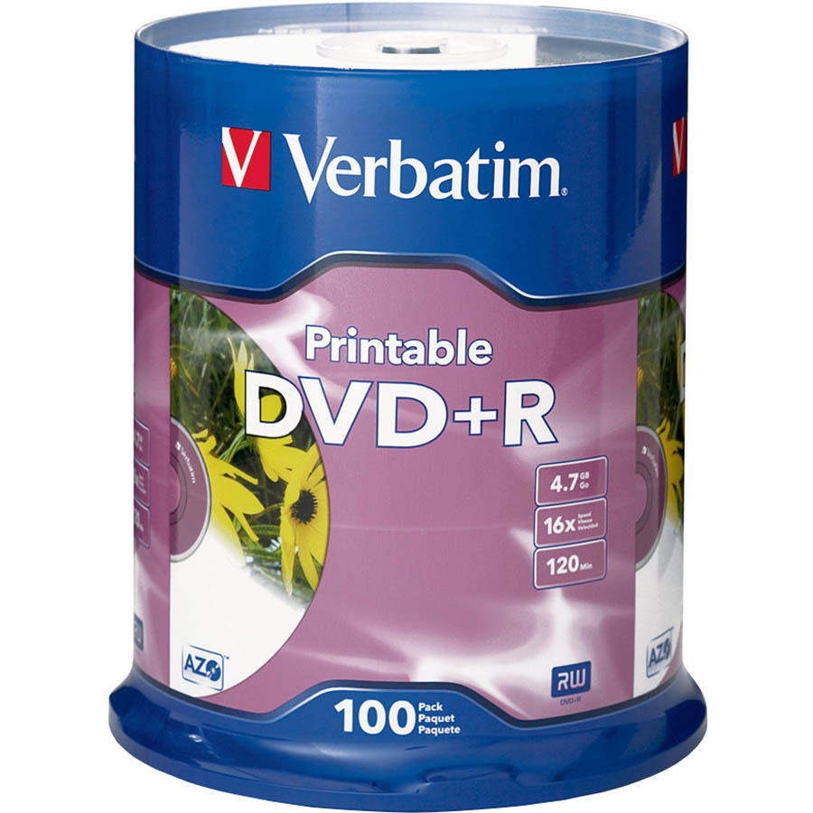 Image for VERBATIM DVD+R 4.7GB 16X WHITE PRINTABLE PACK 100 from Wetherill Park / Smithfield Office National