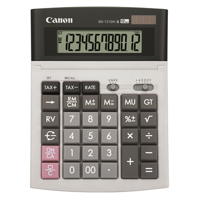 Image for CANON WS-1210HI III DESKTOP CALCULATOR 12 DIGIT GREY from Office National Capalaba