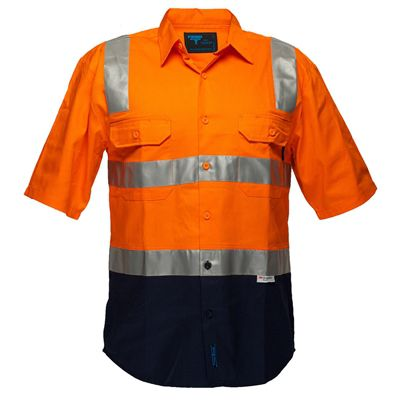 Image for PRIME MOVER MS102 HI VIS DRILL SHIRT SHORT SLEEVE WITH TAPE OVER SHOULDER 2 TONE from OFFICE NATIONAL CANNING VALE, JOONDALUP & OFFICE TOOLS OPD